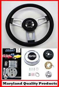 1966 Chevelle Ss Center Cap Grant Black Steering Wheel 13 3 4 Shallow Dish