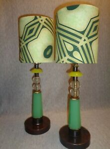 08 46 G F Prairie School Vintage Jadeite Glass Art Deco Lamps