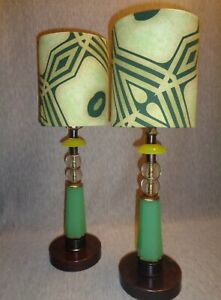 Prairie School Vintage Jadeite Glass Art Deco Lamps W Designer Fabric Shades