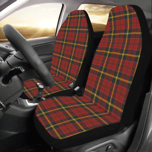 Front Car Seat Covers Red Plaid Fabric Protector Cases For Sedan Truck Suv Van