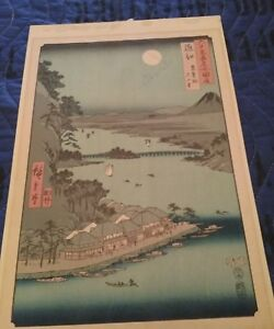 Utagawa Hiroshige Japanese Woodblock The Provinces Series Lot 1