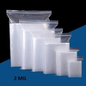 1 5x2 To 20x24 Clear Plastic Zip lock Top Reclosable Poly Jewelry Bags 2 Mil