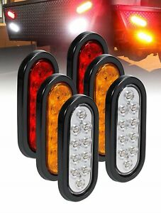 2 Red 2 Amber 2 White Trailer 6 Oval Truck Lights Led Sealed Stop Turn Tail