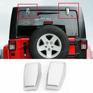 Fit 2008 2017 Jeep Wrangler Jk Chrome Abs Car Rear Tailgate Glass Hinges Cover