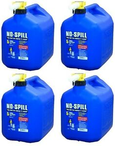 4 No Spill 1456 5 Gallon Carb Compliant Blue Kerosene Fuel Can Containers