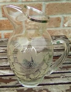 Vintage Rockwell Sterling Silver Overlay 9 5 Glass Pitcher Peony Pattern Euc
