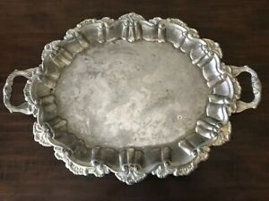 Vintage International Silver Company Silver Plated Oval Footed Serving Platter