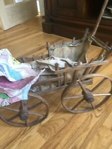 Antique Original Wicker Child S Baby Doll Buggy Carriage Stroller