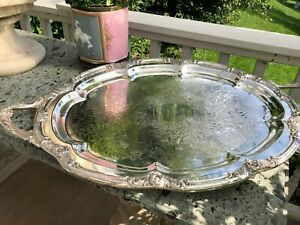 Antique Extra Large English Silver Plate Oval Tray With Butler S Stand