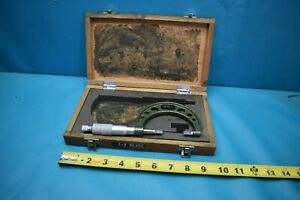 Used Mitutoyo 1 2 122 126 Blade Micrometer With Wooden Case