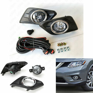 Front Fog Light Kit Fit 14 16 Nissan Rogue X trail Clear Lens Bezel Switch Wire