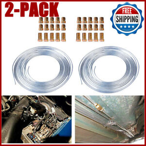 2x Zinc Steel Brake Line Tubing Kit 3 16 25 Ft Coil Roll With 30pcs Fittings