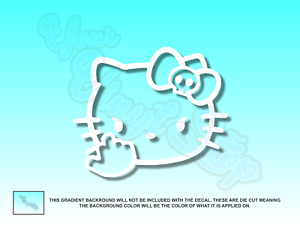 Hello Kitty Middle Finger Skull Bow Flipping Off Vinyl Car Decal Sticker 5