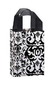 Plastic Bags 100 Black White Damask Frosted Frosty Merchandise Gift 5 X 3 X 7