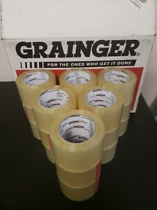 Lot Of 18 Grainger Carton Sealing Tape clear Packing 72mm X 110yd 2 75 Wide