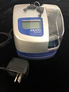 Amano Tcx 45 Electronic Time Clock 2 Keys Included tested