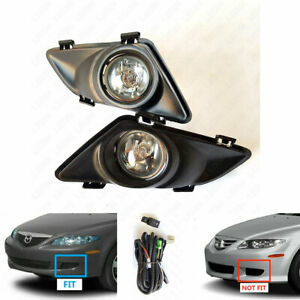 Front Driving Fog Light Kit Fit 03 05 Mazda 6 Clear Lens Bezel Switch Wire Bulb
