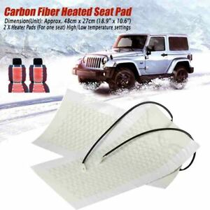 1 Seat 2 Pads Carbon Fiber Car Seat Heater Heated Cushion Round Switch Kits 12v