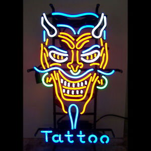 Tattoo Neon Sign Display Shop Store Bright Light Real Glass Business Sign24 x20
