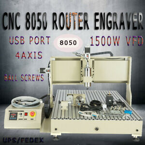 Cnc Router 8050 4axis Engraving Drilling Milling Machine1500w Spindle Usb Port
