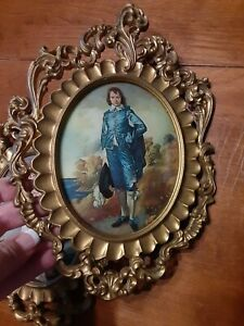 Vintage Picture Of Blue Boy And Pinky Bubble Beveled Plastic Gold Italy Frame