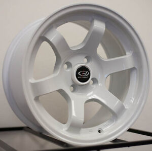 15x7 Rota Grid Concave 4x100 20 White Wheels New Set