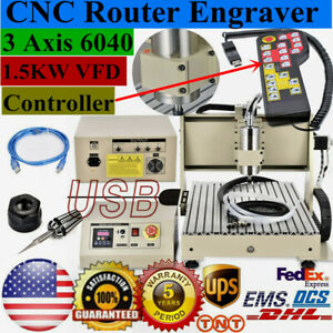 Usb 3 Axis 6040 Cnc Router Engraver 1 5kw Vfd Milling Cutting Machine controller