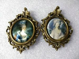 Lot 2 Vintage Miniature Victorian Portraits Metal Frames Made In Italy