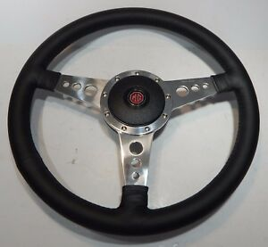 New 15 Leather Steering Wheel And Adaptor For Mga Moto Lita