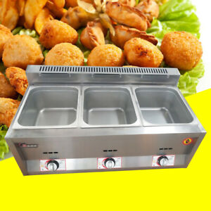 3 Pan Gas Food Warmer Steam Table Commercial Steamers Stainless Steel Free Ship
