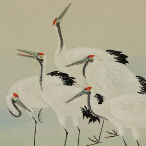 Hanging Scroll Japanese Painting Japan Crane Original Antique Vintage Art 361i