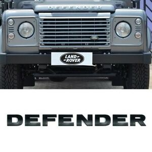 Land Rover Defender Lettering 3d Bonnet Emblem Badge Glossy Black