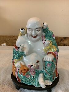 Old Large Chinese Porcelain Famille Rose Buddha W Children Marked W Stand