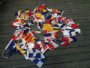 Vintage Large Assortment Of Nylon Cloth Nautical Flags W Rope Usa Sale