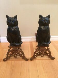 Vintage Halloween Cast Iron Figural Black Cat Fireplace Andirons Glass Eyes