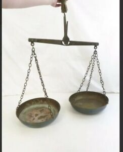 Large Antique Brass Hanging Balance Scale W Copper Pans