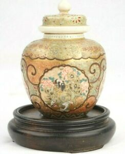 Antique Japanese Finely Detailed Satsuma Miniature Covered Jar 3 1 2 Inches