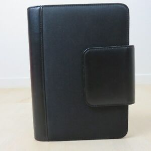 Franklin Covey 365 Black Canvas Organizer 7 Ring Planner Binder Leather Accent