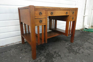 Mission Arts And Crafts Early 1900s Tiger Oak Writing Desk With Boo