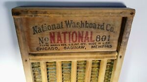 Vintage National Washboard Co The Brass King 801 Wooden Washboard