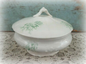 Antique Green Transferware White Ironstone Small Covered Dish Shabby Cottage