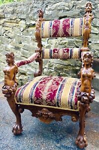 19th C French Antique Armchair Carved Fruitwood Arm Chair Old Figural 50 Tall