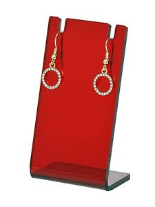 Earring Necklace Stand Jewelry Translucent Red Display Holder Showcase Qty 12