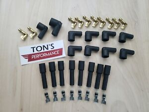 8 Cylinder Black Rubber Spark Plug Boot Kit Steel Brass Ends V8 Coil Wire