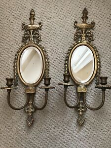 Pair Of Antique Louis Xv Brass Bronze Mirrored Candle Wall Sconces With Crystals
