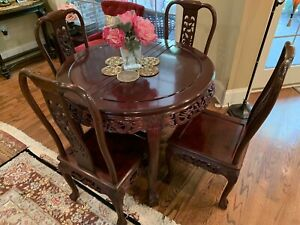 Chinese Rosewood Dining Table W 4 Pristine Chairs