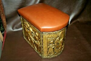 Antique Ornate English Brass Wood 17 Coal Scuttle Stool W Upholstered Seat