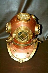 1941 Us Navy Large 17 Copper Brass Morse Mark V Diving Helmet Boston Mass