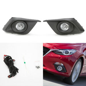Front Driving Fog Light Kit Set Fit 14 16 Mazda 3 Clear Lens Bezel Switch Wire