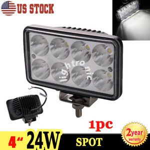 1x 4 24w Led Work Light Bar Offroad Suv Spot Fog Driving Head Lamp Rectangle